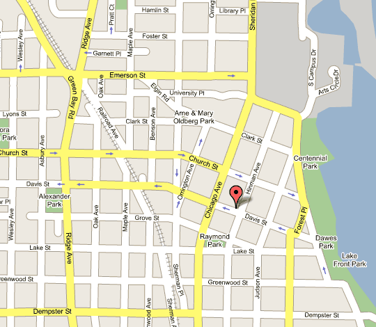 map of Evanston area